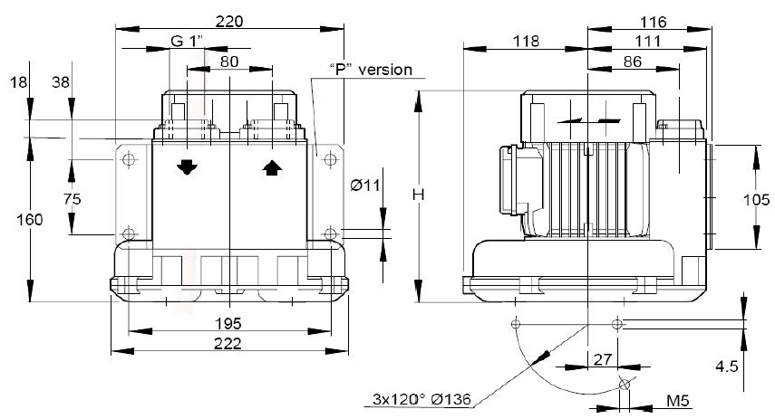 Габаритный чертеж воздуходувки SCL 06