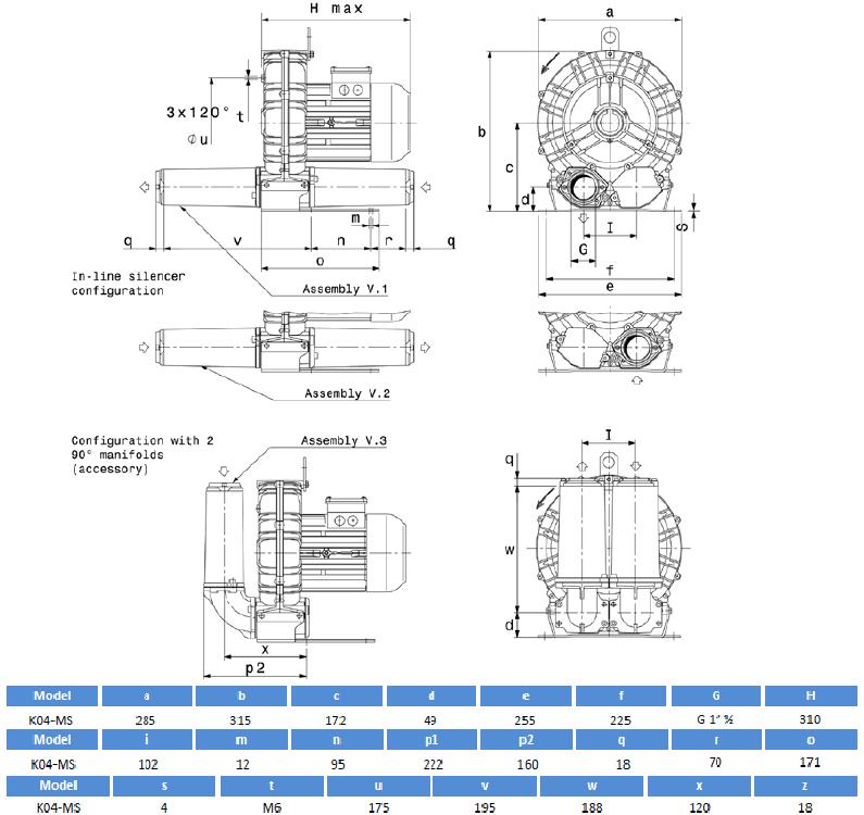 Габаритный чертеж воздуходувки SCL K04-MS