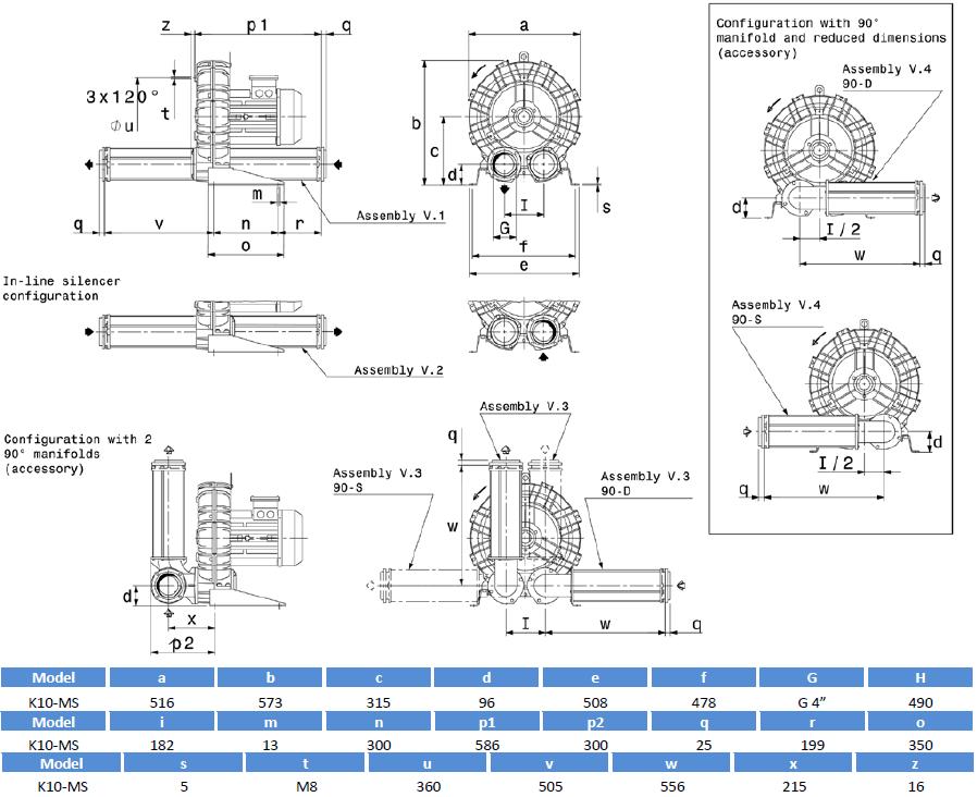 Габаритный чертеж воздуходувки SCL K10-MS