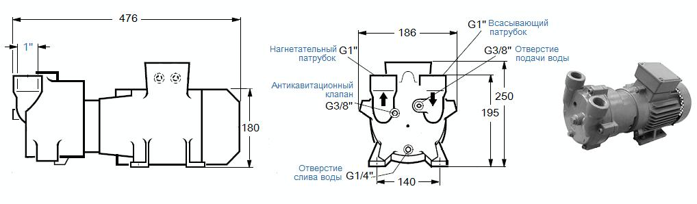 Габаритный чертеж насоса SL Vacuum SKA-2061