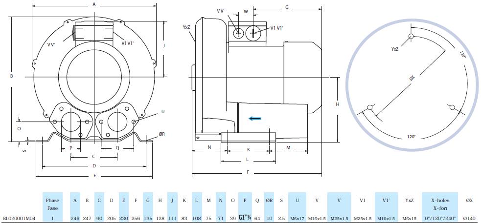 Габаритный чертеж воздуходувки Seko BL020001M04