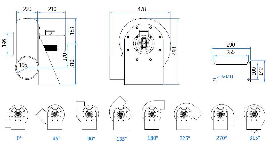 Габаритный чертеж вентилятора MPC-F4T-200-ATEX