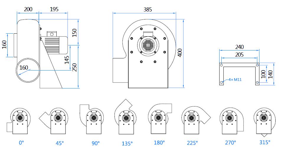 Габаритный чертеж вентилятора MPC-F2S-160