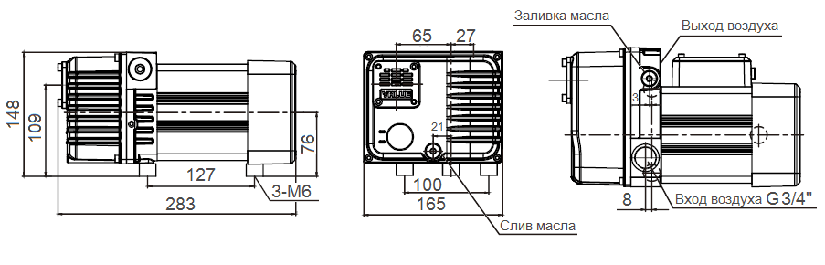 Габаритный чертеж насоса VSV-8_220
