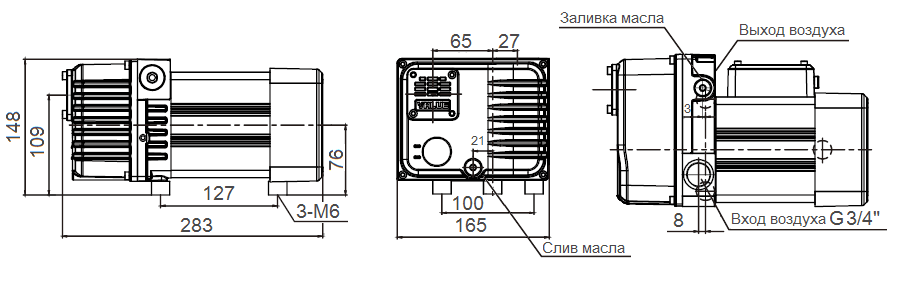 Габаритный чертеж насоса VSV-10_220