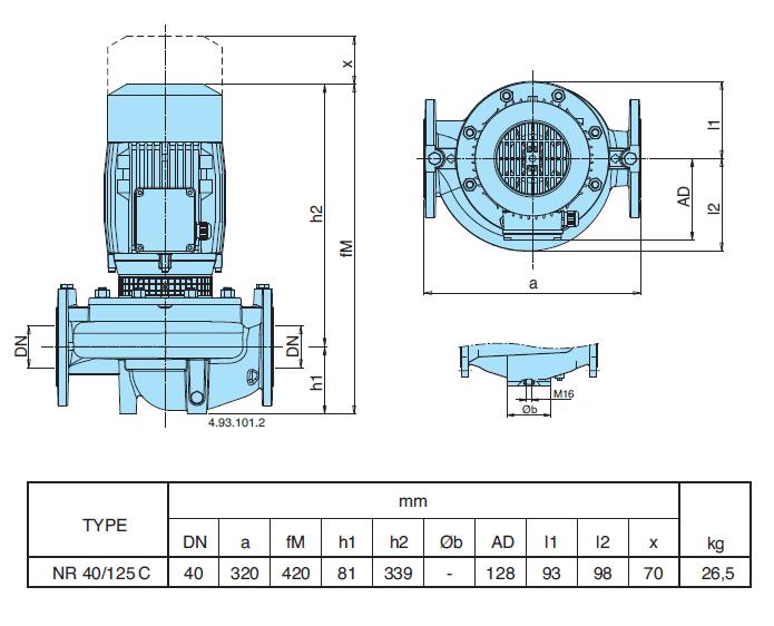 Габаритный чертеж насоса Calpeda NR 40/125C