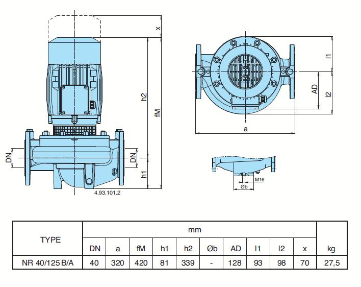 Габаритный чертеж насоса Calpeda NR 40/125B/A