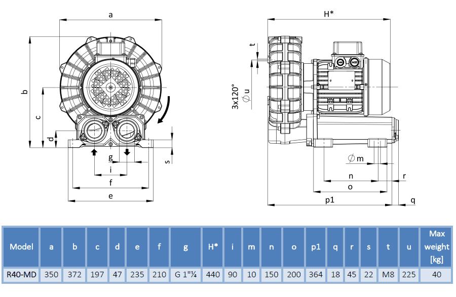 Габаритный чертеж воздуходувки 40DH-MD-MOR-3.00