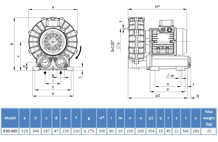 Габаритный чертеж воздуходувки R30-MD-MOR-1.50