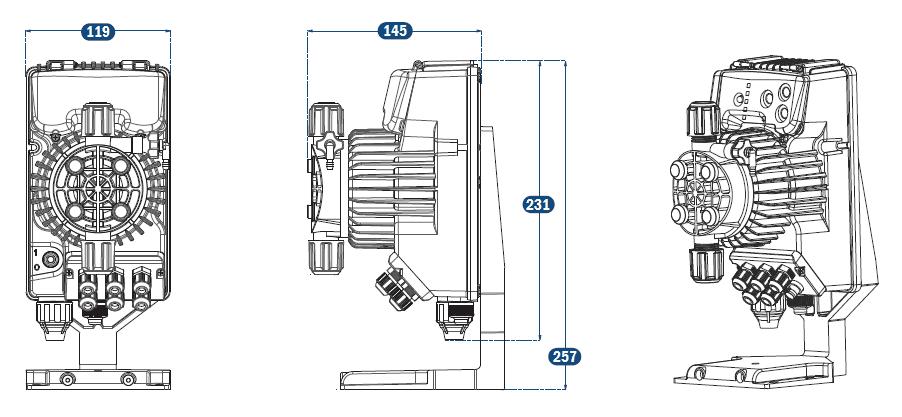 Габаритный чертеж насоса Tekna Evo APG 500