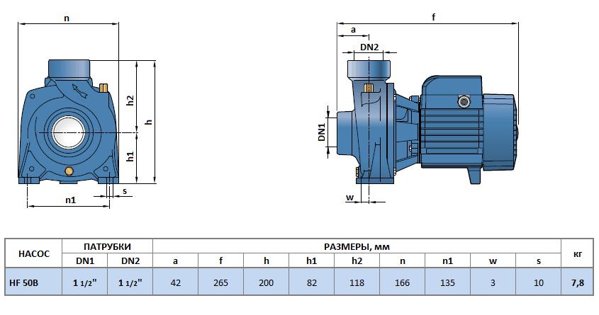 Габаритный чертеж насоса Pedrollo HF 50B