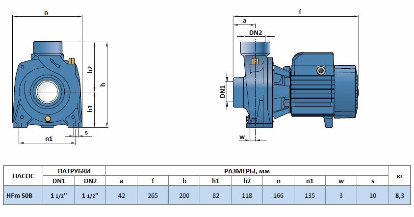 Габаритный чертеж насоса Pedrollo HFm 50B