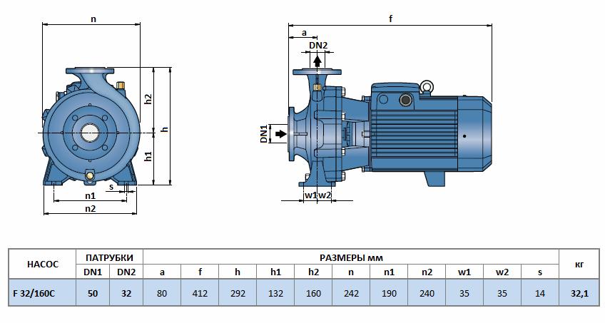 Габаритный чертеж насоса Pedrollo F 32/160C