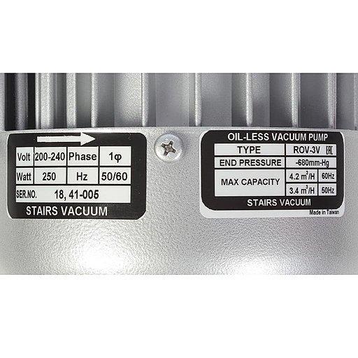 Шильдик безмасляного вакуумного насоса Stairs Vacuum ROV-3V_220