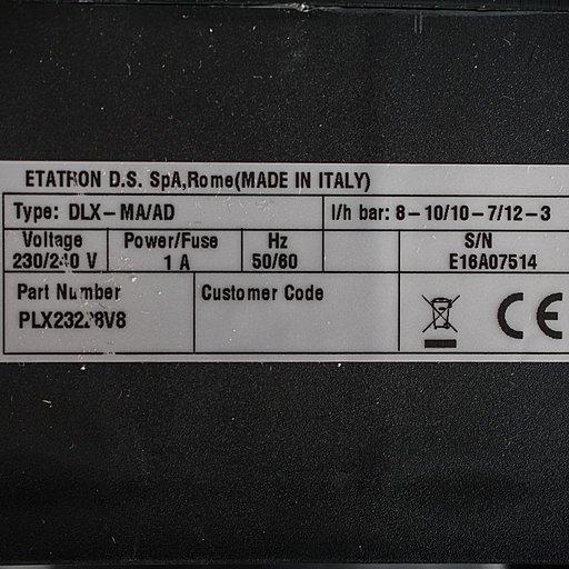 Шильдик насоса Etatron DLX MA/AD 08-10