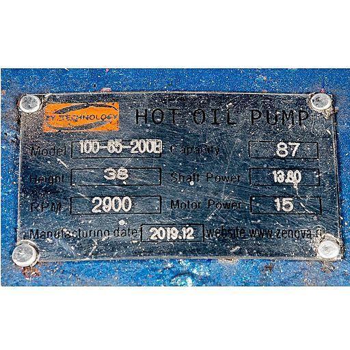 Шильдик насоса для горячих масел ZY Technology RY 100-65-200B